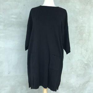 Joan Vass Cotton Black Tunic with Pockets